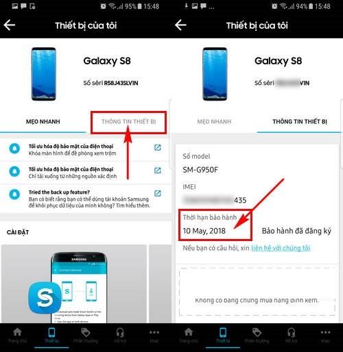 Cách kiểm tra điện thoại Samsung thông qua bảo hành